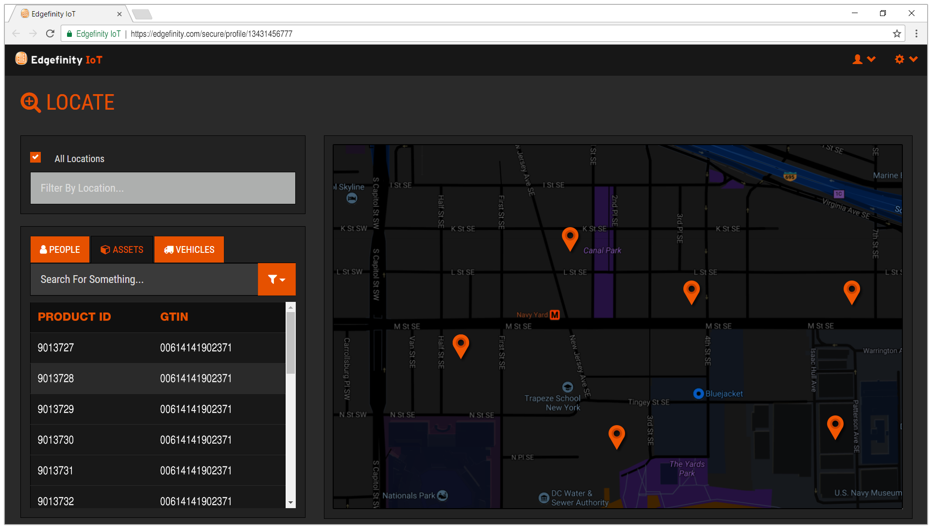 Search for inventory in your facilities in real time.