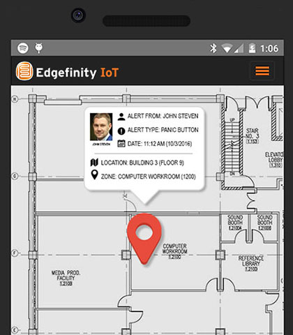 Edgefinity IoT offers location based RTLS technology to track employees, assets and inventory.