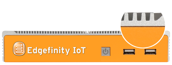 The Edgefinity IoT EdgeBox Controller server is a high performance, dust-resistant, zero maintenance server.