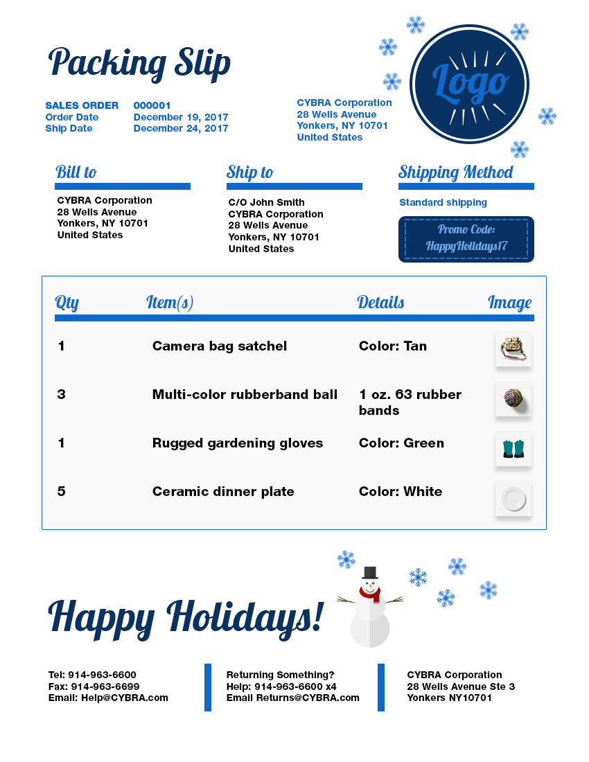 Happy Holidays Packing Slip Template