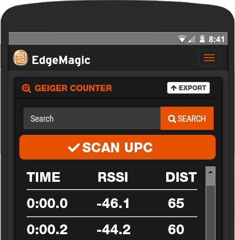 Included in EdgeMagic RFID software is a geiger counter for easy track and finding of inventory.
