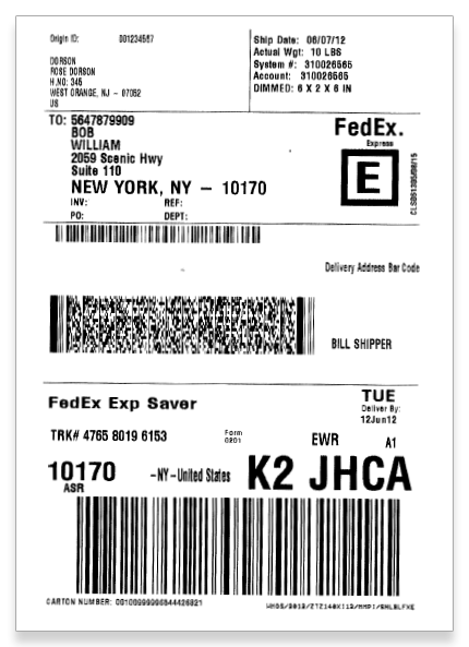 Print out FedEx shipping labels with MarkMagic barcode labeling and printing software.