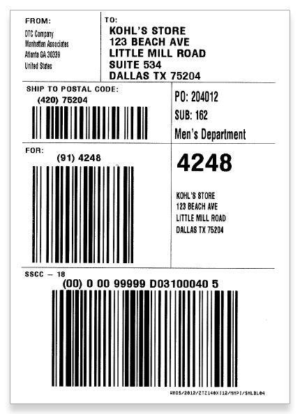 Print out Kohl's shipping labels with MarkMagic barcode labeling and printing software.