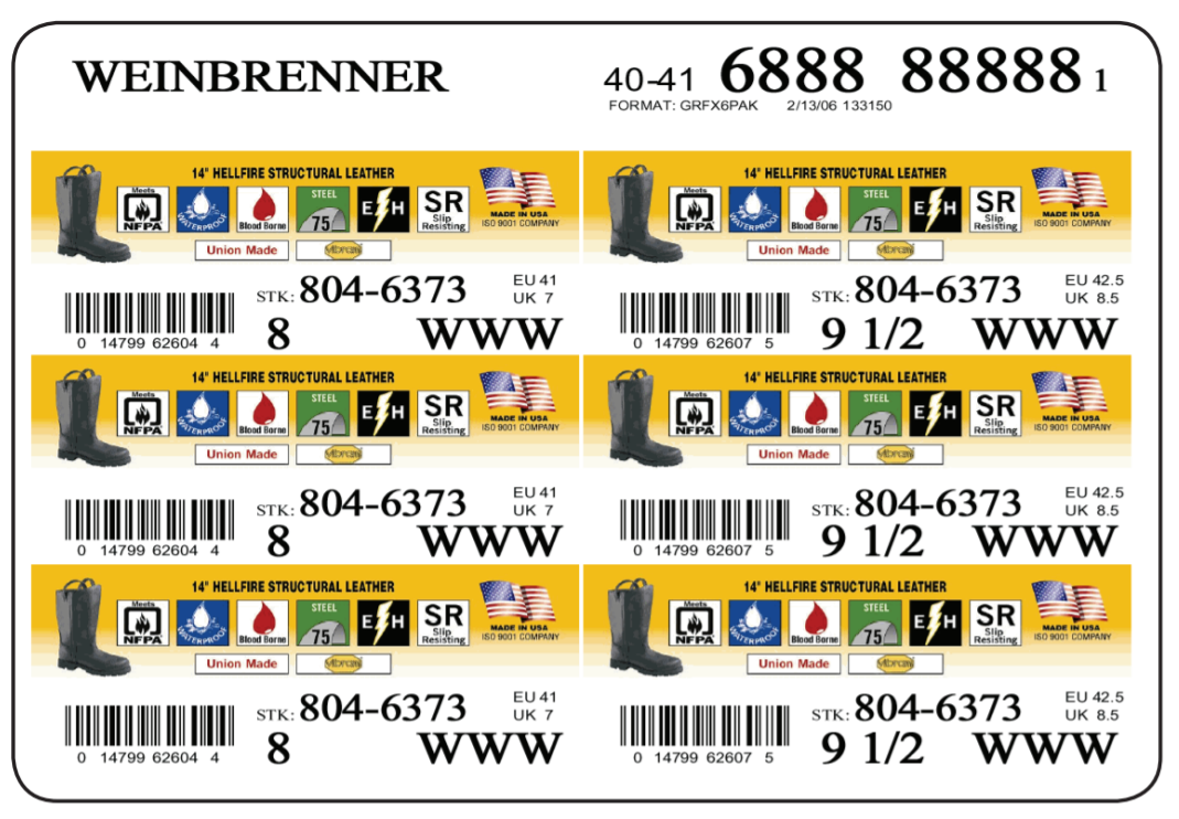 Weinbrenner shoes develops high quality color labels with MarkMagic barcode labeling software.