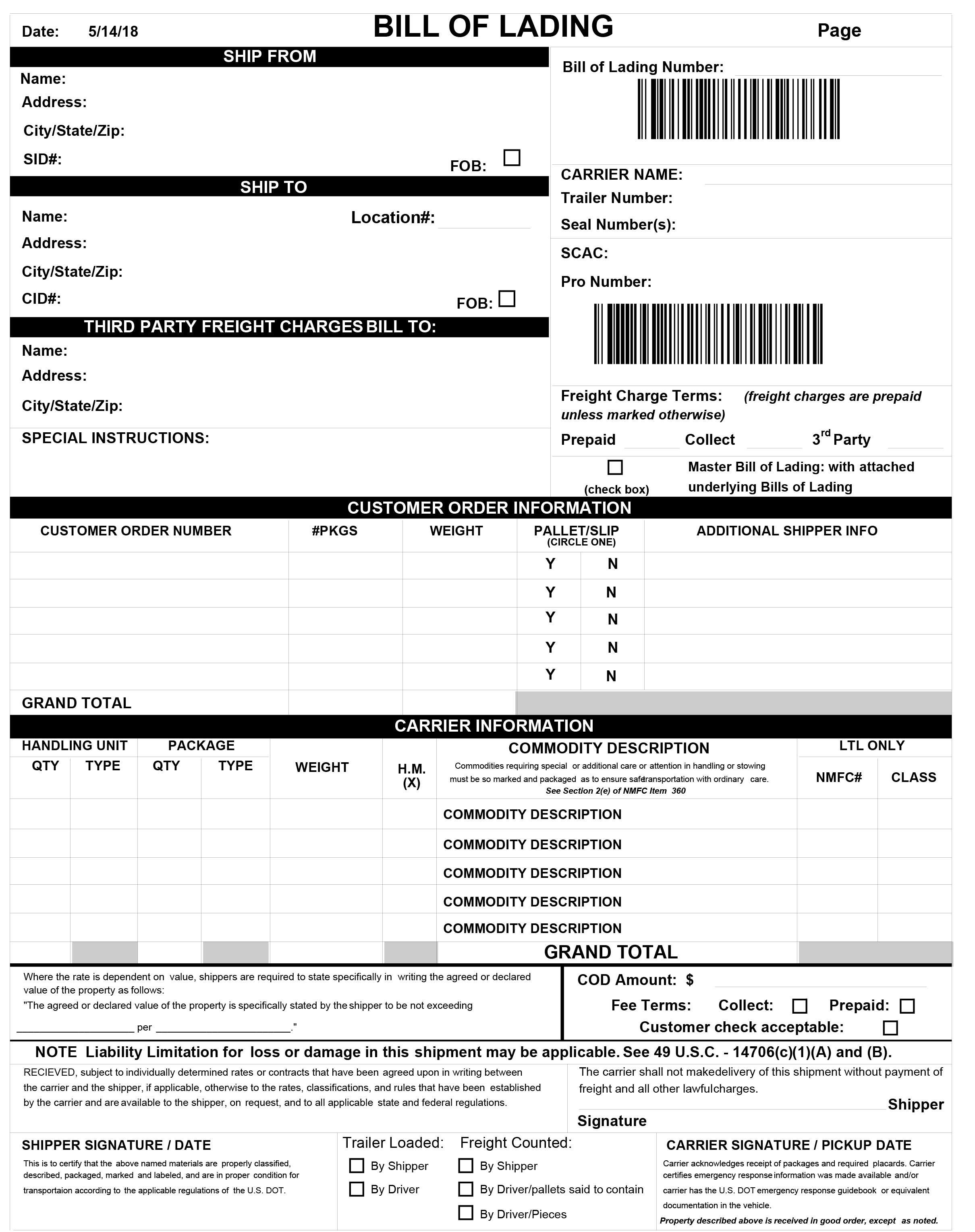 Combine your bill of lading forms with packing, shipping, and return information.