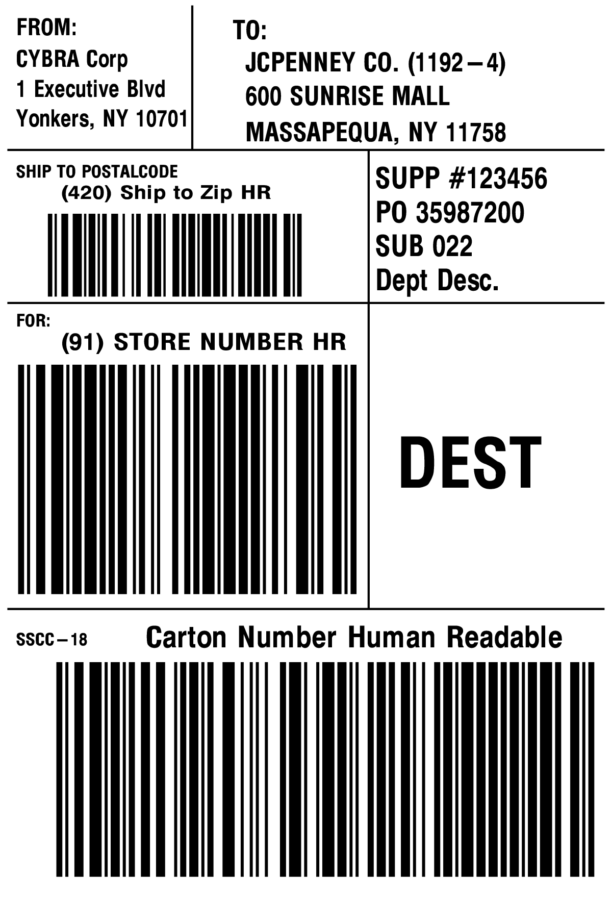 JC Penney Shipping Label Template