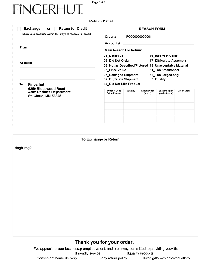 Fingerhut Packing Slip Template