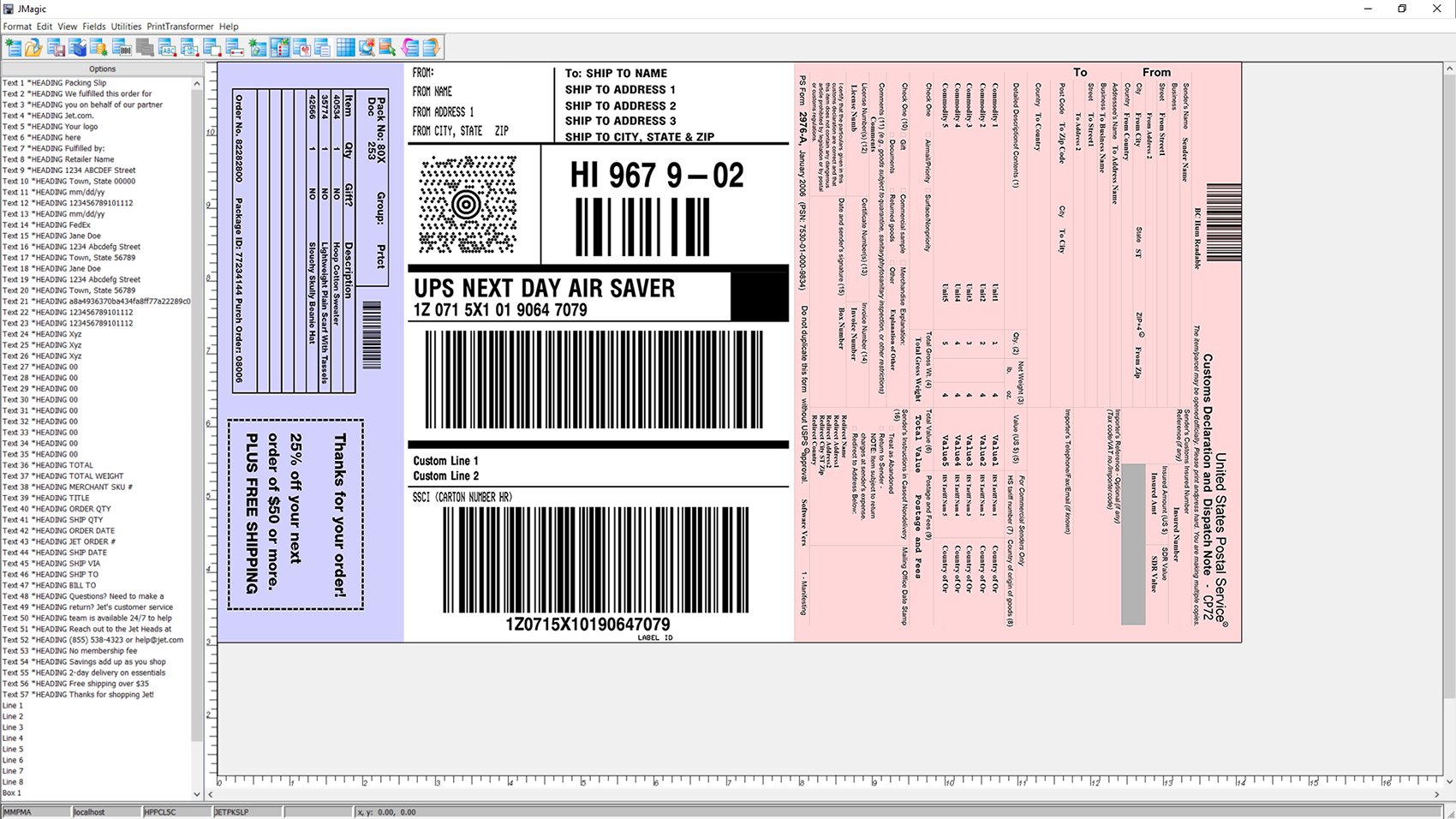 Combine formats like shipping labels and packing slips with the FormWeaver.