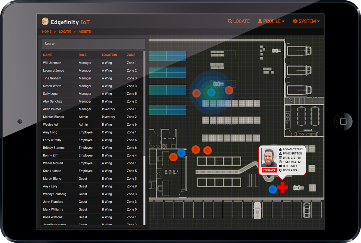 The Edgefinity IoT interface allows you to monitor lone worker safety in real time.