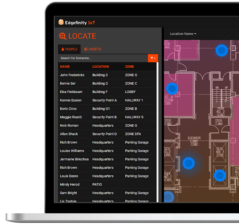 Track personnel and equipment within Edgefinity IoT's RFID software dashboard
