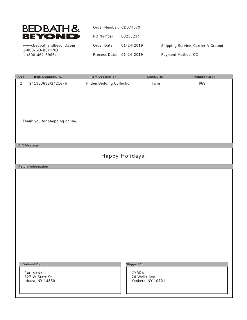 Bed Bath & Beyond Packing Slip Template