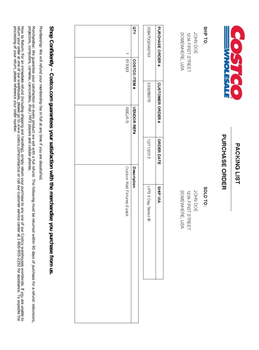 Costco Packing Slip Template