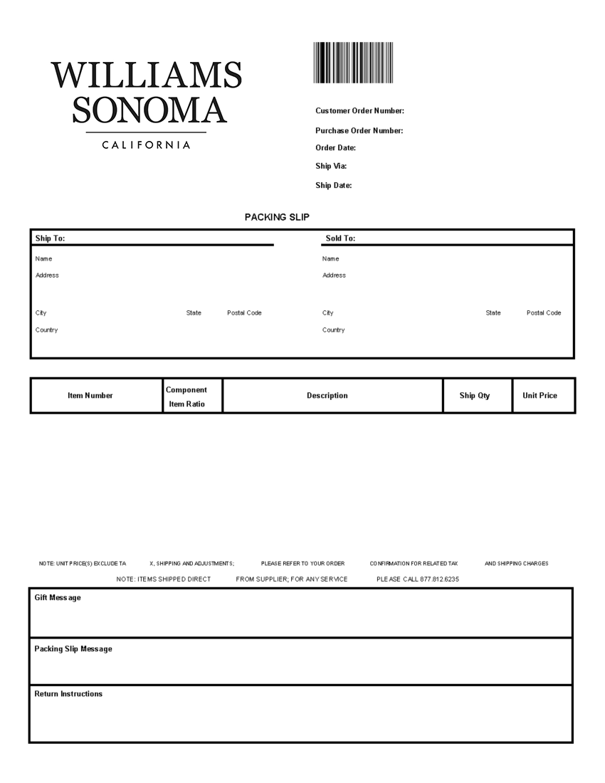 Williams Sonoma Packing Slip Template