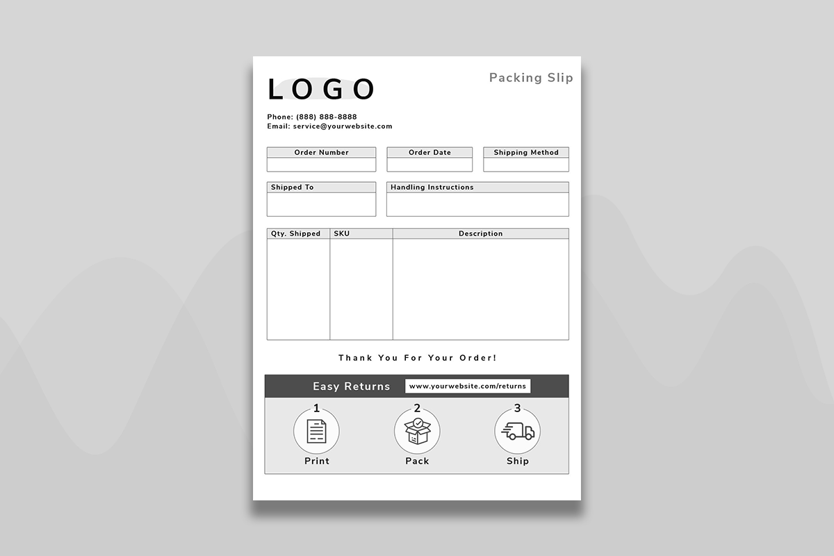 Packing slip with bulk order table and return information