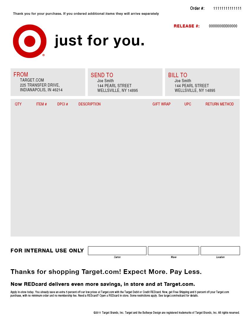 Target Packing Slip Template