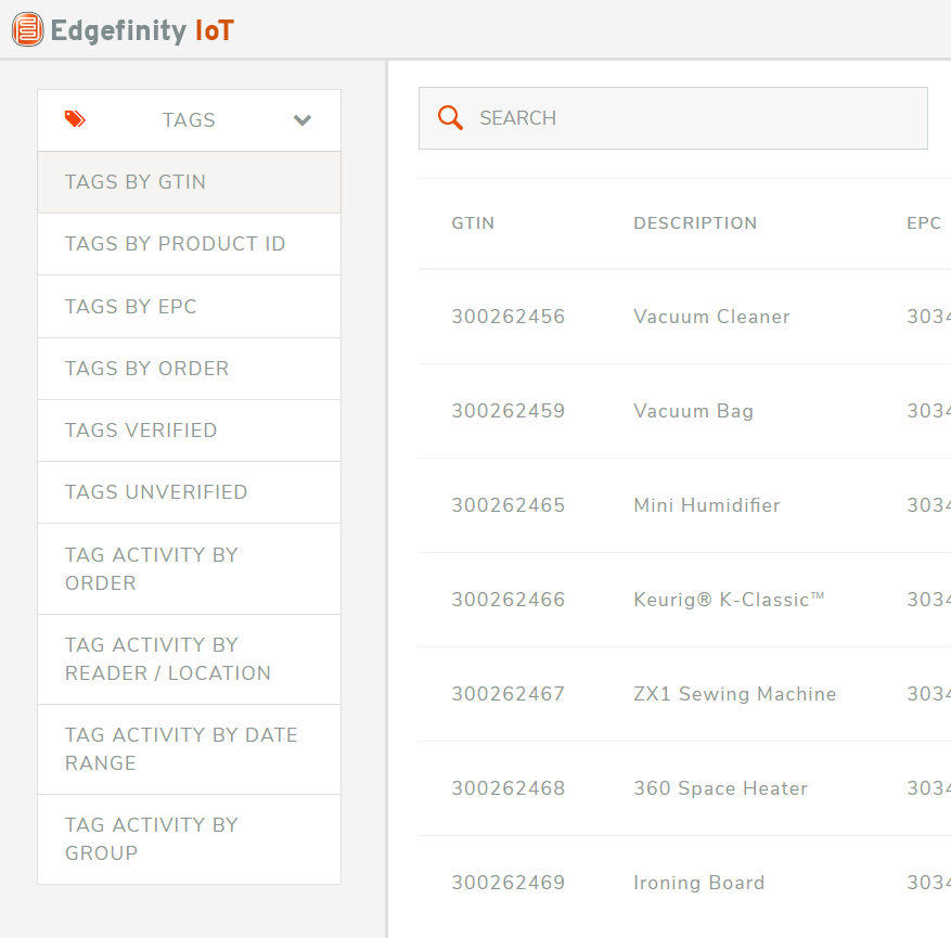 Search through your retail inventory by GTIN, EPC, or Product ID.
