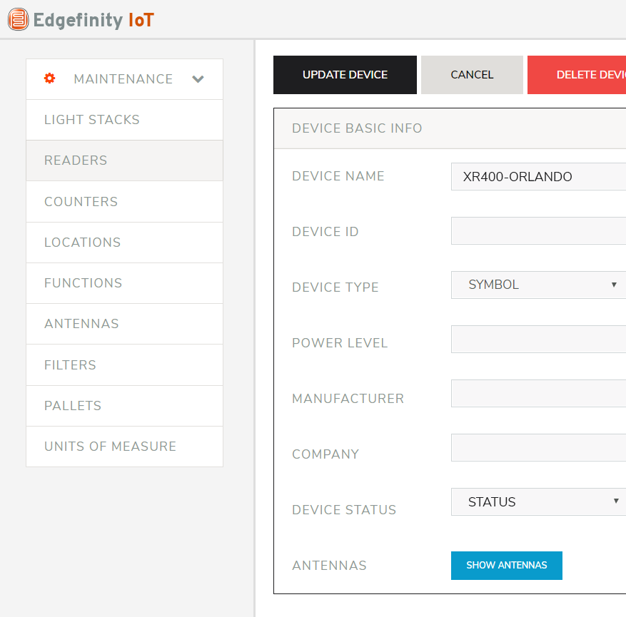 Manage RFID tagged inventory data with Edgefinity IoT