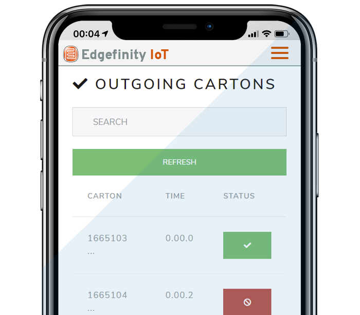 Tracking outbound cartons becomes easier with Edgefinity IoT.