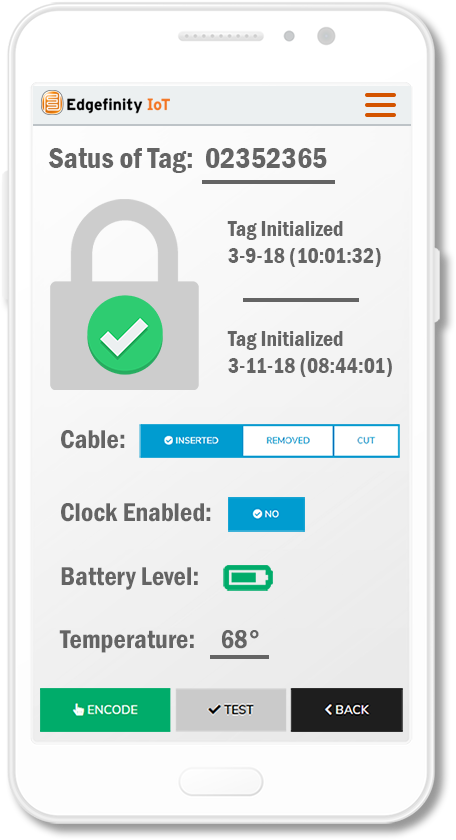 Lock and encode your RFID seals to track status and location with CYBRA's RFID Smart Seals.