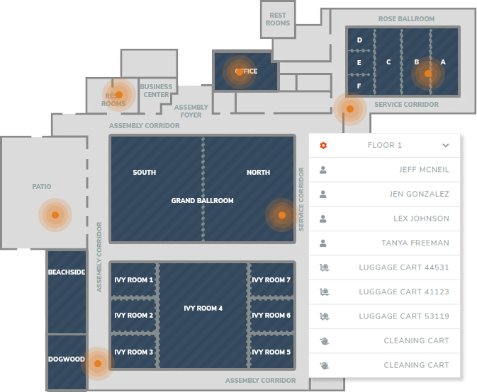 Track assets, inventory, and personnel in hotels.